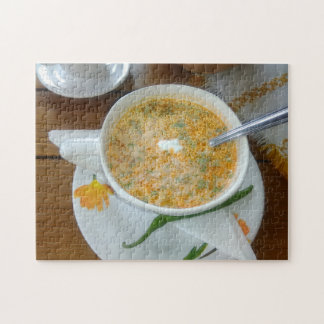 Vegetabla Soup With Sour Cream Jigsaw Puzzle