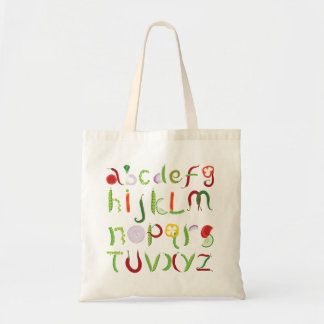 Vegetable Alphabet Tote Bag