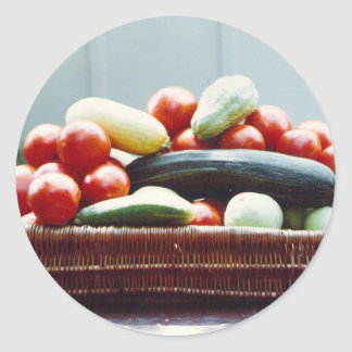 Vegetable Basket Classic Round Sticker