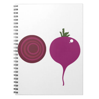 Vegetable design on white notebook
