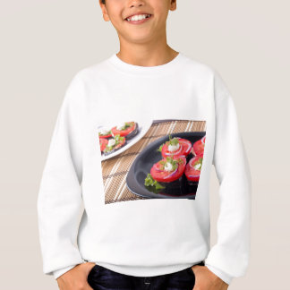 Vegetable dishes of stewed eggplant and fresh red sweatshirt