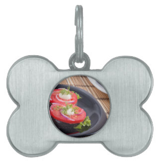 Vegetable dishes of stewed eggplant and tomato pet ID tag