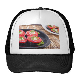 Vegetable dishes of stewed eggplant and tomato trucker hat