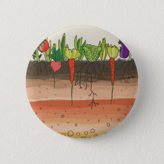 Vegetable garden soil earth layers nature art 2 inch round button