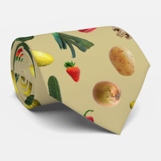 Vegetable Pattern Farmers Food Print Tie