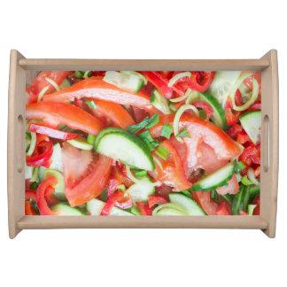 Vegetable salad serving tray