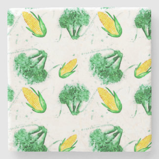 Vegetable seamless pattern with corn and broccoli stone coaster