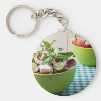Vegetable vegetarian salad with raw tomato basic round button keychain