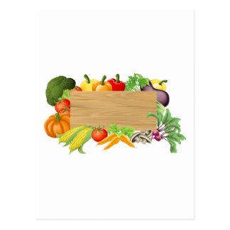 Vegetable wooden sign illustration postcard