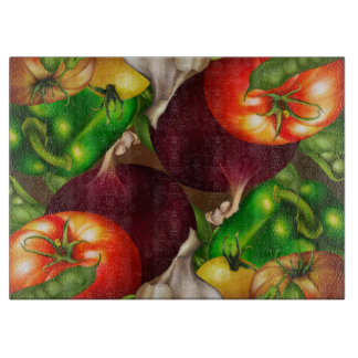 Vegetables and Herbs Organic Natural Fresh Food Cutting Board