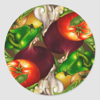 Vegetables and Herbs Organic Natural Veggies Food Classic Round Sticker