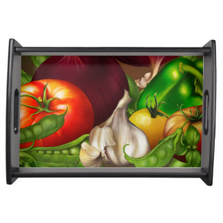 Vegetables and Herbs Organic Natural Veggies Food Serving Tray