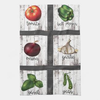 Vegetables & Herbs Rustic Modern Kitchen Food Art Kitchen Towel