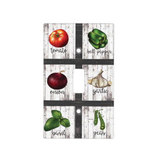 Vegetables & Herbs Rustic Modern Kitchen Food Art Light Switch Cover