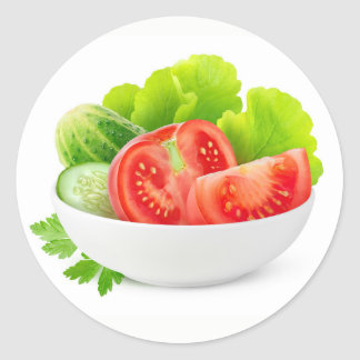 Vegetables in a bowl classic round sticker
