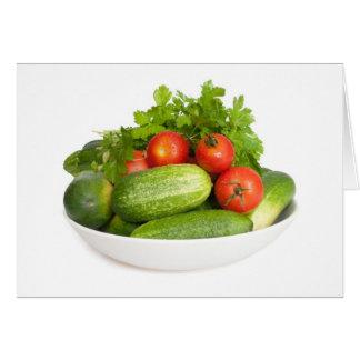 Vegetables on White Card