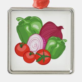 Vegetables Silver-Colored Square Ornament