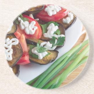 Vegetarian dish of stewed aubergine coaster