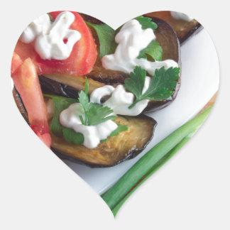 Vegetarian dish of stewed aubergine heart sticker