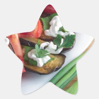 Vegetarian dish of stewed aubergine star sticker