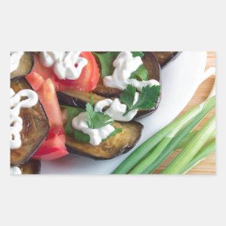 Vegetarian dish of stewed aubergine sticker