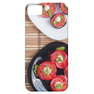 Vegetarian dish of stewed eggplant and fresh tomat iPhone 5 cover