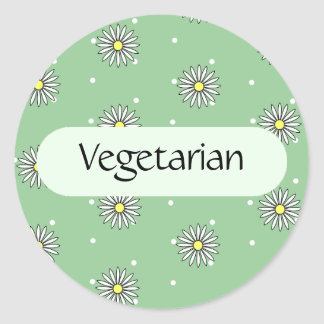 Vegetarian Food Label for Buffets and Picnics Round Sticker