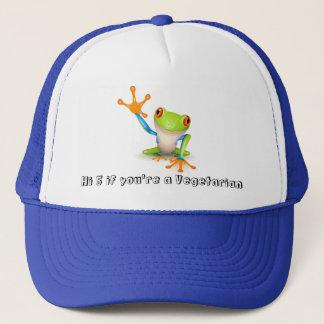 Vegetarian frog on blue trucker hat
