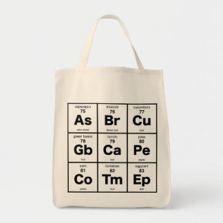 Vegetarian Periodic Table Tote Bag