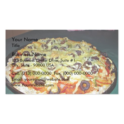 vegetarian pizza, with olives and capsicum business cards