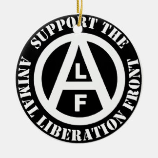 Vegetarian Vegan Support Animal Liberation Front Round Ceramic Ornament