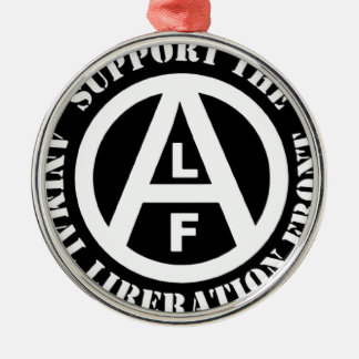 Vegetarian Vegan Support Animal Liberation Front Silver-Colored Round Ornament
