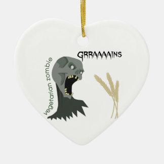 Vegetarian Zombie wants Graaaains! Ceramic Heart Ornament
