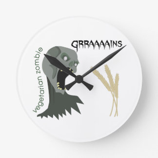 Vegetarian Zombie wants Graaaains! Round Clock