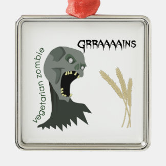 Vegetarian Zombie wants Graaaains! Silver-Colored Square Ornament