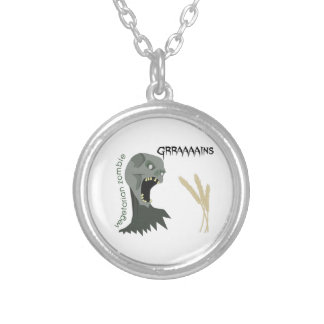 Vegetarian Zombie wants Graaaains! Silver Plated Necklace
