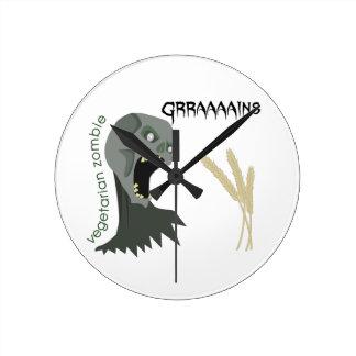 Vegetarian Zombie wants Graaaains! Wallclocks
