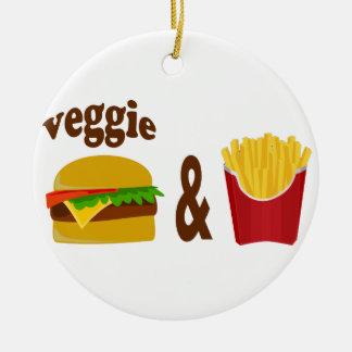 Veggie Burger and Fries Ceramic Ornament