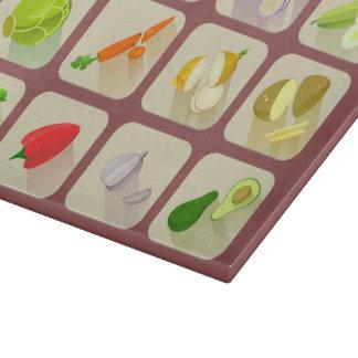 Veggie Garden Glass Cutting Board