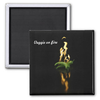 Veggie on fire-square magnet