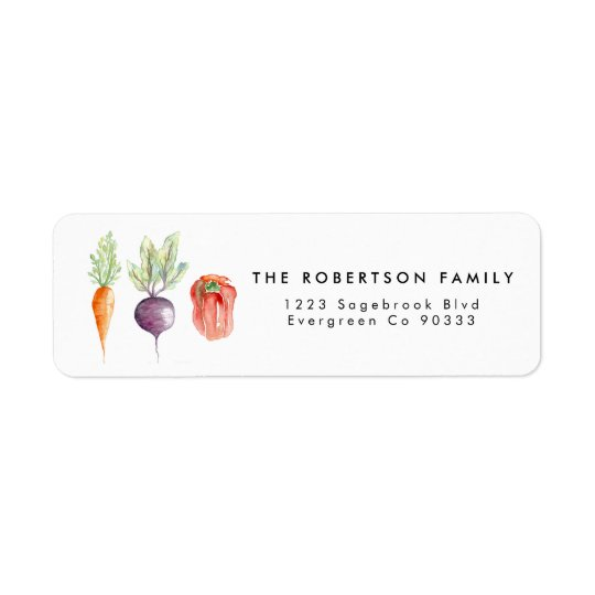Veggie Patch Watercolor Address Label