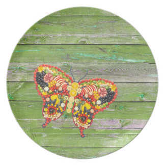 VeggieArt Butterfly Green Wood wall Plate