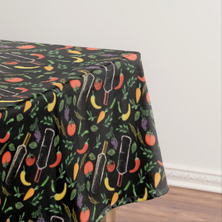 Veggies and Bottles Foodie Hipster Tablecloth