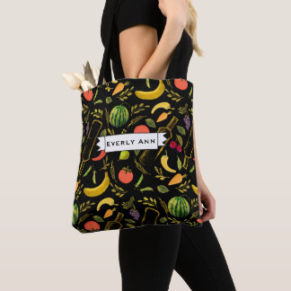 Veggies and Gold Bottles Foodie Hipster Pattern Tote Bag