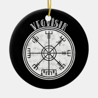 VEGVISIR  Icelandic compass Stave Ceramic Ornament