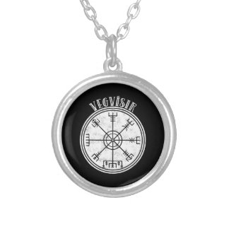 VEGVISIR  Icelandic compass Stave Silver Plated Necklace