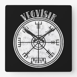 VEGVISIR  Icelandic compass Stave Square Wall Clock