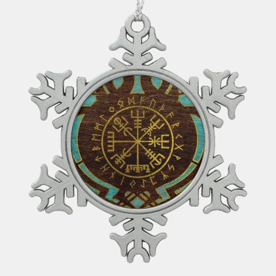 Vegvisir - Viking  Navigation Compass Snowflake Pewter Christmas Ornament