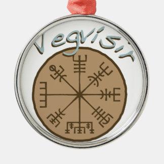 Vegvsir Stave Sigil Silver-Colored Round Ornament