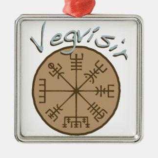 Vegvsir Stave Sigil Silver-Colored Square Ornament